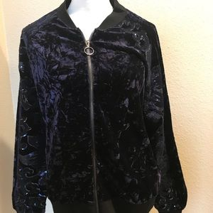 Navy velvet/sequin zippered jacket